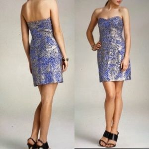 Milly Of New York blue gold strapless mini dress 8